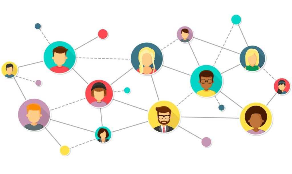 red de personas interconectadas - ilustración
