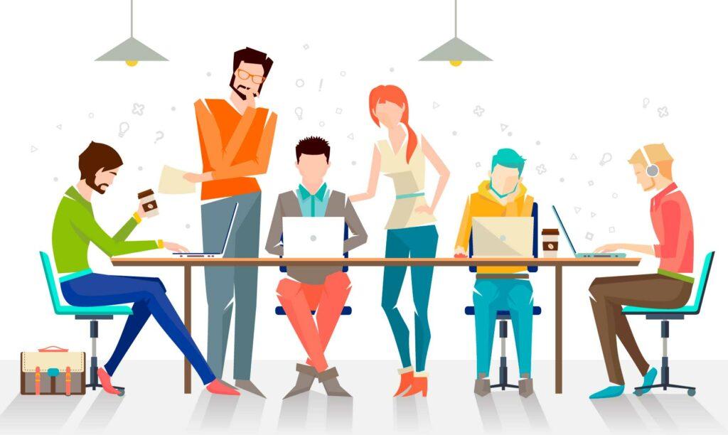 figurativo-integrantes de un equipo alrededor trabajando juntos - las 5 c del trabajo en equipo