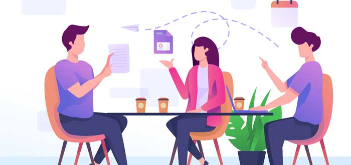 figurativos-tres profesionales comunicándose entre sí- 5 c del trabajo en equipo