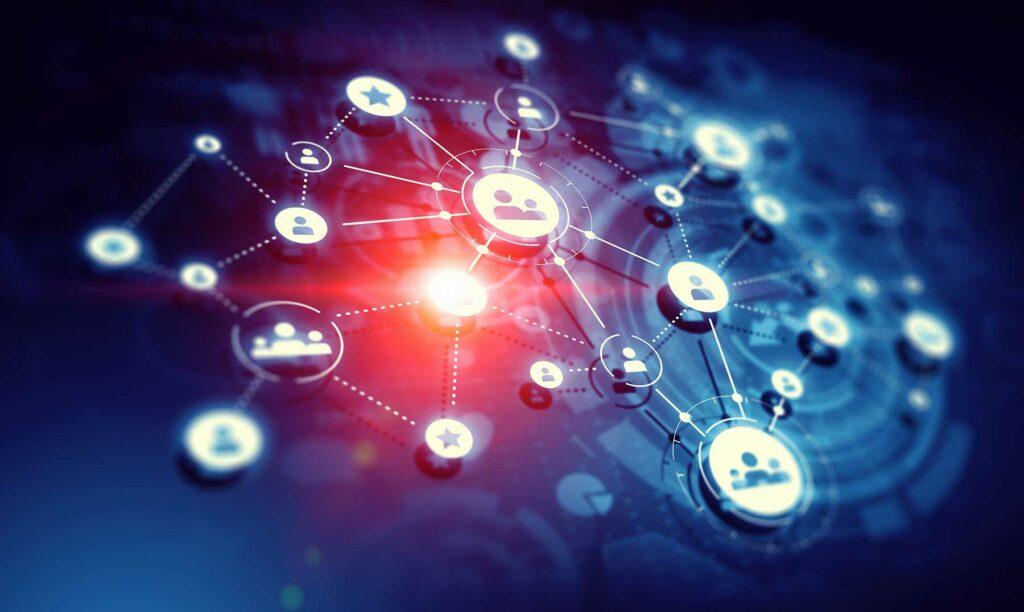puntos de red interconectados