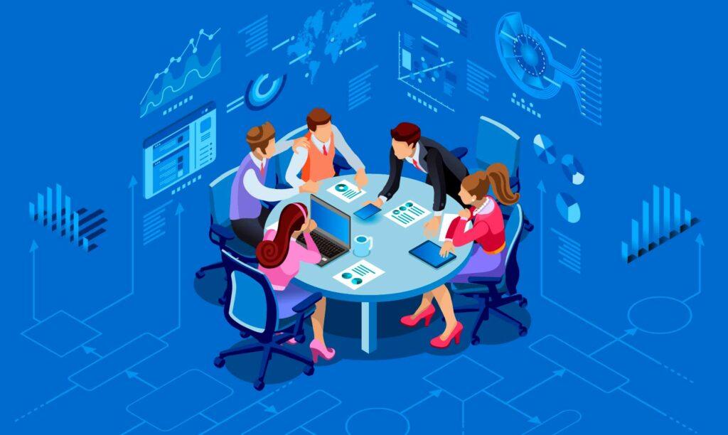 grupo figurativo reunido en una mesa