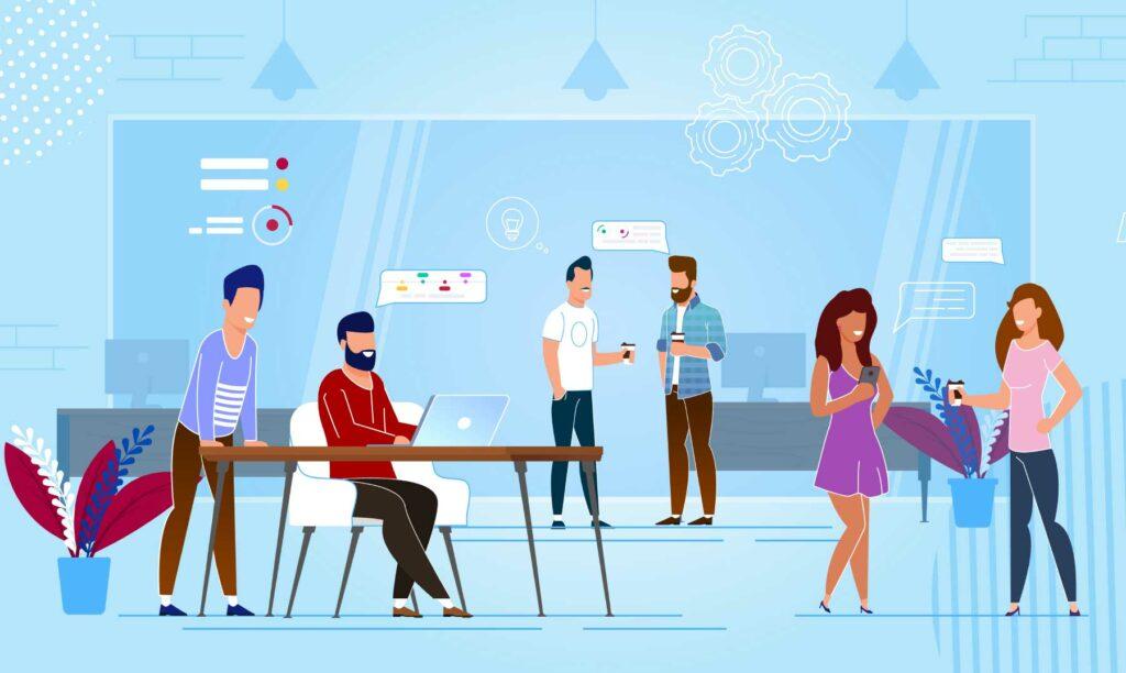 coworkers-disfrutando-ventajas-coworking