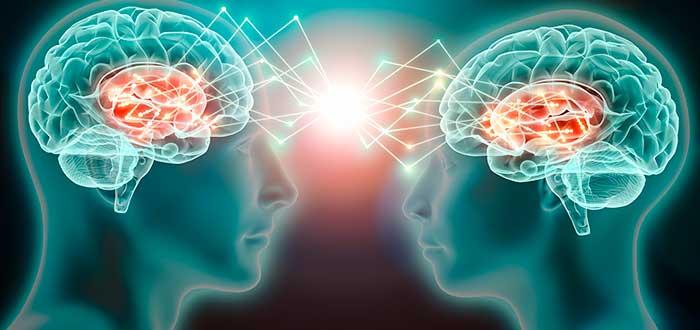 metáfora gráfica de dos mentes conectadas