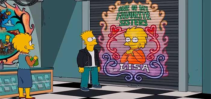 mural pintado por Bart sobre Lisa en el episodio Barthood