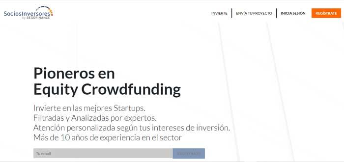 Socios Inversores plataforma screen