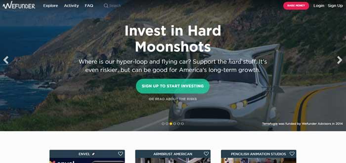 WeFunder plataforma screen